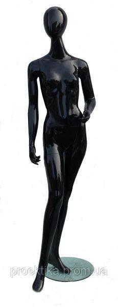 DOG-12b Манекен женский безликий черный глянцевый