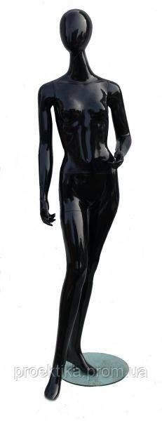 DOG-12b Манекен женский безликий черный глянцевый, фото 1