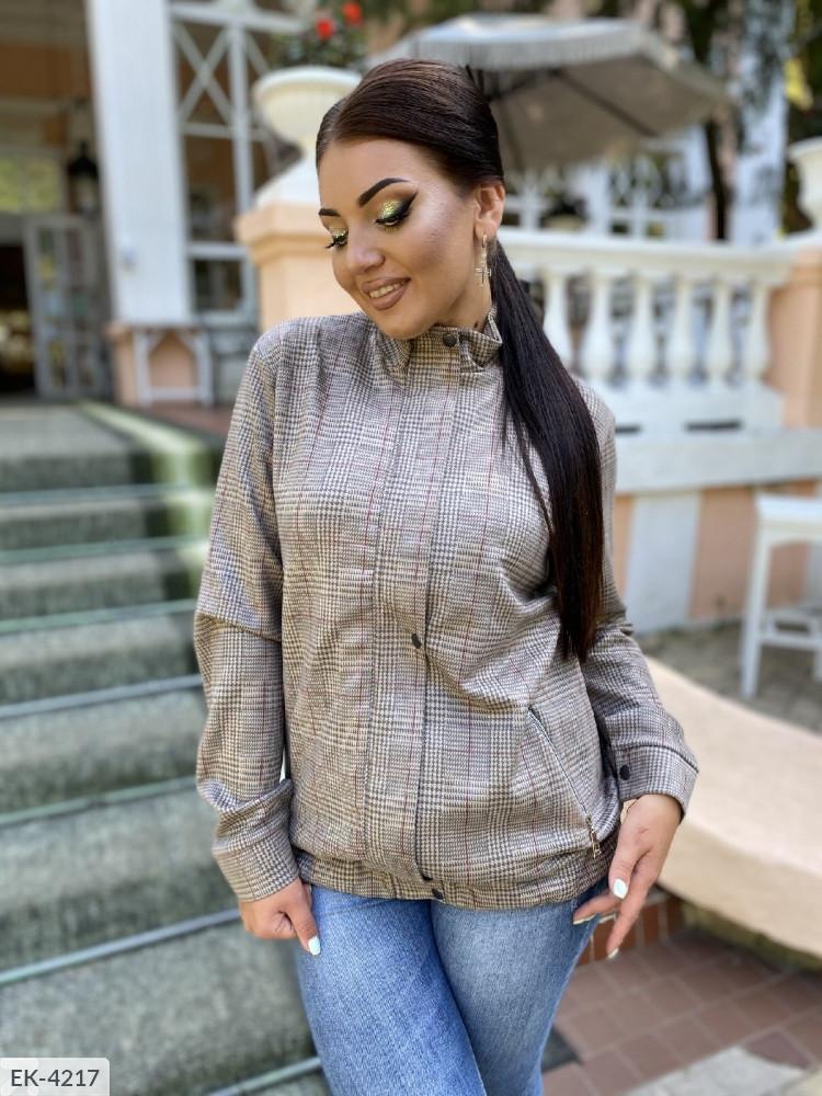 """Женская стильная куртка демисезон в больших размерах """"Бомбер Замш Клетка"""" (DG-ат 0139)"""