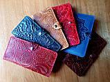 Кошелек кожаный женский Дюна, Перо, Подсолнух жолтый, Солнце, Птицы, Цветы, восточный узор петриковка красный, фото 6