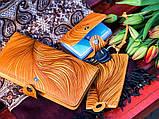 Кошелек кожаный женский Солнце синий, Птицы ласточка, Подсолнух жолтый, Цветы, Перо восточный узор петриковка, фото 6