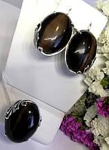 Гарнитур с овальным черным камнем улексит Монсерат