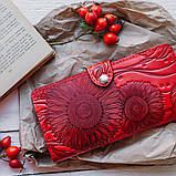 Кошелек кожаный женский Подсолнух коричневый, Солнце, Птицы, Цветы, Восточный узор огурцы, Петриковка красный, фото 3