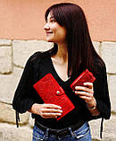 Кошелек кожаный женский Подсолнух коричневый, Солнце, Птицы, Цветы, Восточный узор огурцы, Петриковка красный, фото 8