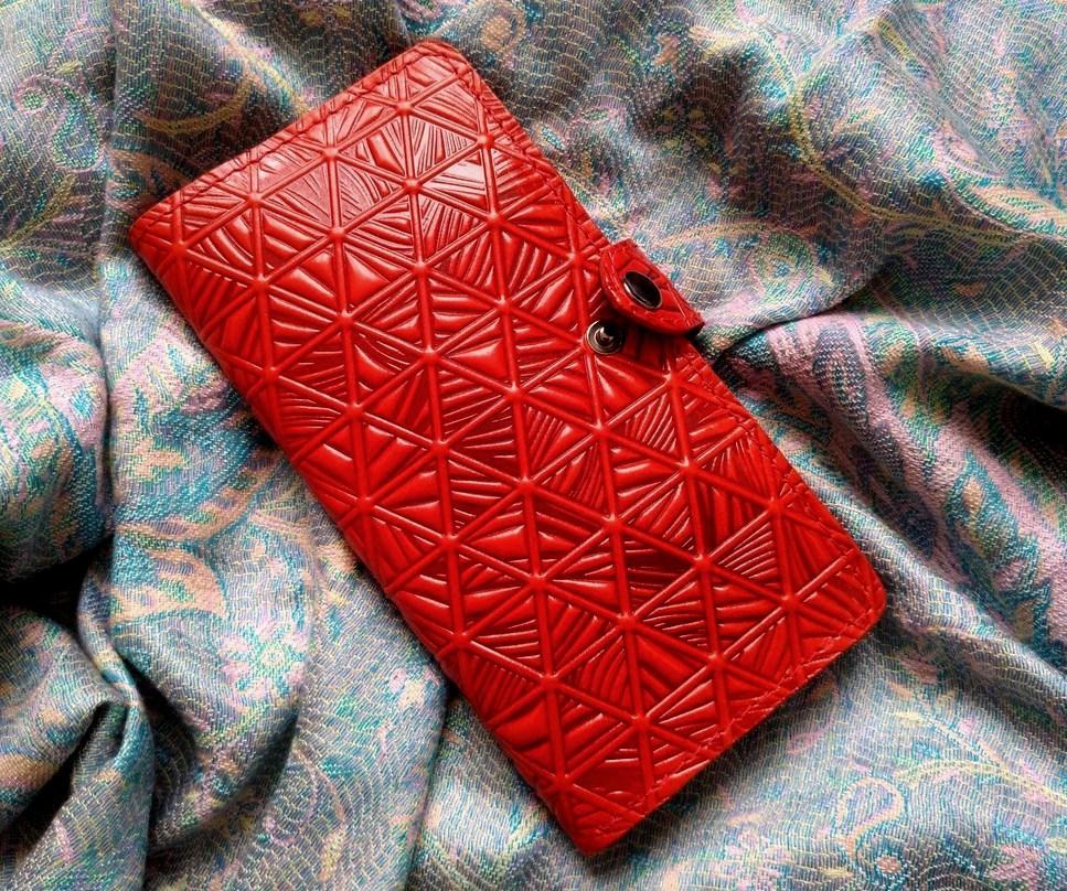 Кошелек кожаный женский геометрия скалы красный, Подсолнух, Солнце, Птицы, Цветы восточный узор петриковка