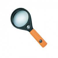 MG89075 лупа ручная круглая, 3Х Ø65мм, 8Х Ø16мм, линза стекло Zhongdi