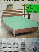 Трикотажная простынь на резинке Хлопок Турция 180*200 Евро ментол