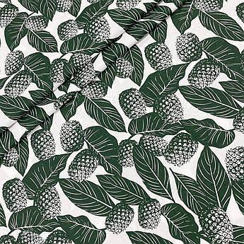 """Польская хлопковая ткань """"Ананасы темно-зеленые на белом"""""""