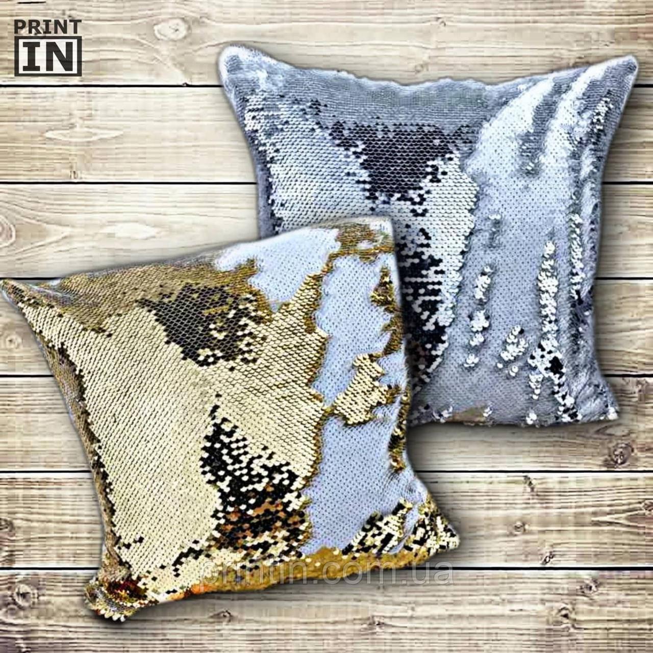 Печать на подушке с паетками