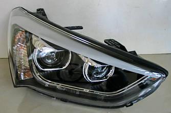 Передние фары Hyundai Santa Fe 3 (2012-2015) тюнинг LED оптика (линза под ксенон)