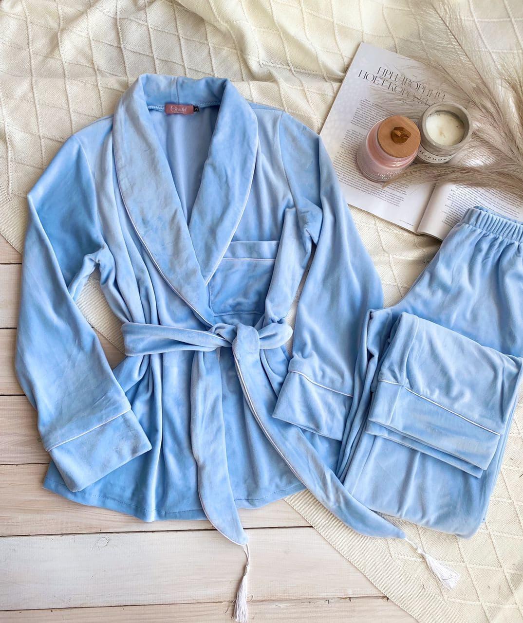 Женская пижама Christel укороченный халат и штыны