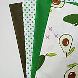 Набор хлопковой ткани для рукоделия из 4 шт. Авокадо, фото 2