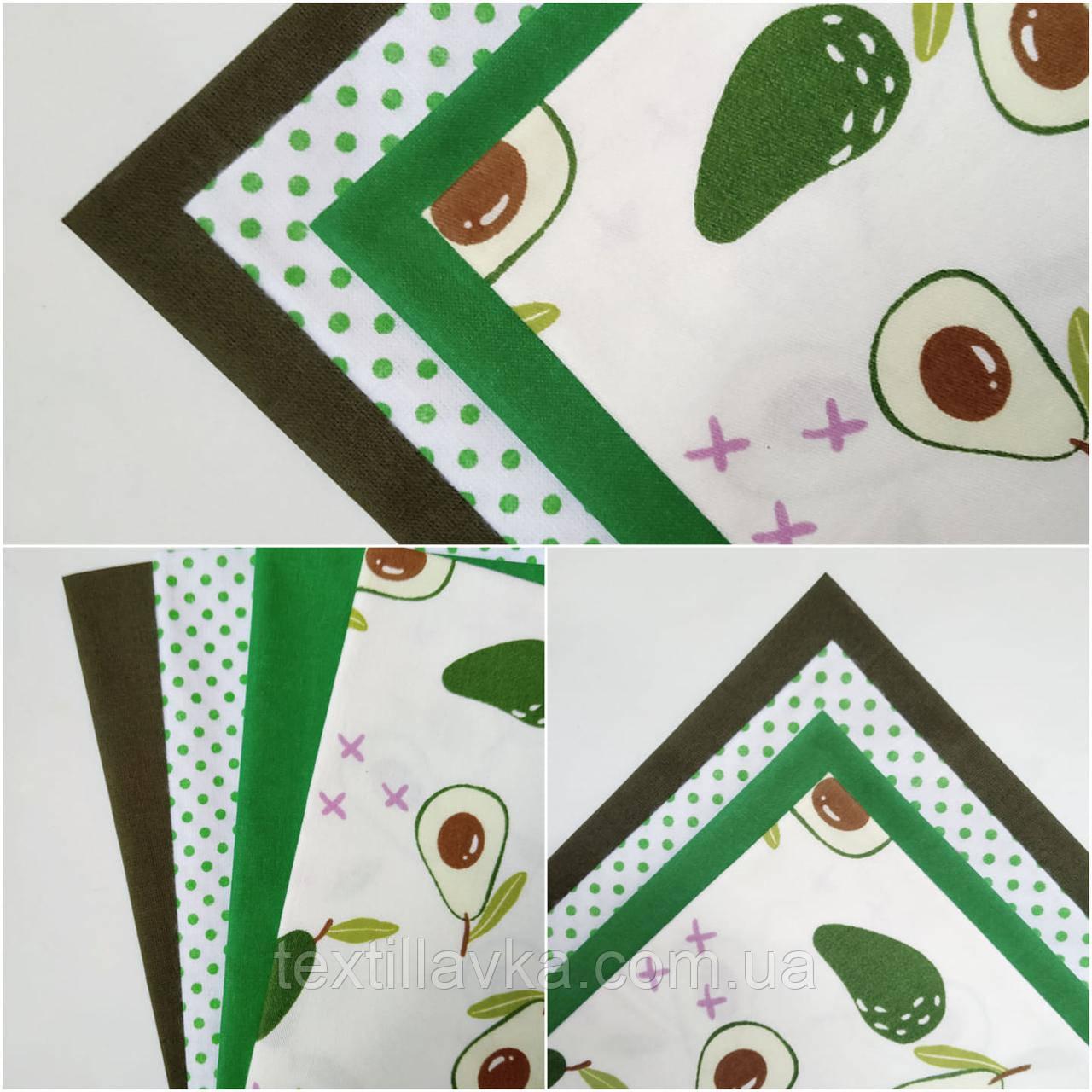 Набор хлопковой ткани для рукоделия из 4 шт. Авокадо