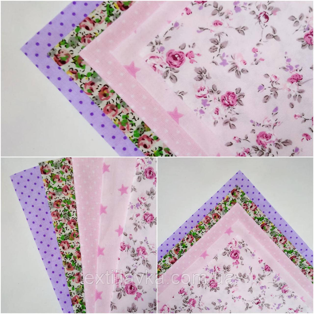 Набор хлопковой ткани для рукоделия из 5шт. Розовая мечта