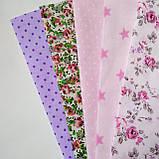 Набор хлопковой ткани для рукоделия из 5шт. Розовая мечта, фото 2