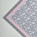 Набор хлопковой ткани для рукоделия из 3 шт Серо-розовый, фото 2