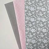 Набор хлопковой ткани для рукоделия из 3 шт Серо-розовый, фото 3