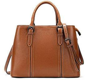 Классическая женская сумка в коже флотар Vintage 14875 Рыжая
