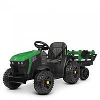 Детский электромобиль Трактор с прицепом 4463EBLR-10,мягкое сиденье