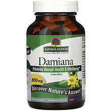 """Дамиана Nature's Answer """"Damiana"""" афродизиак, 800 мг (90 капсул)"""