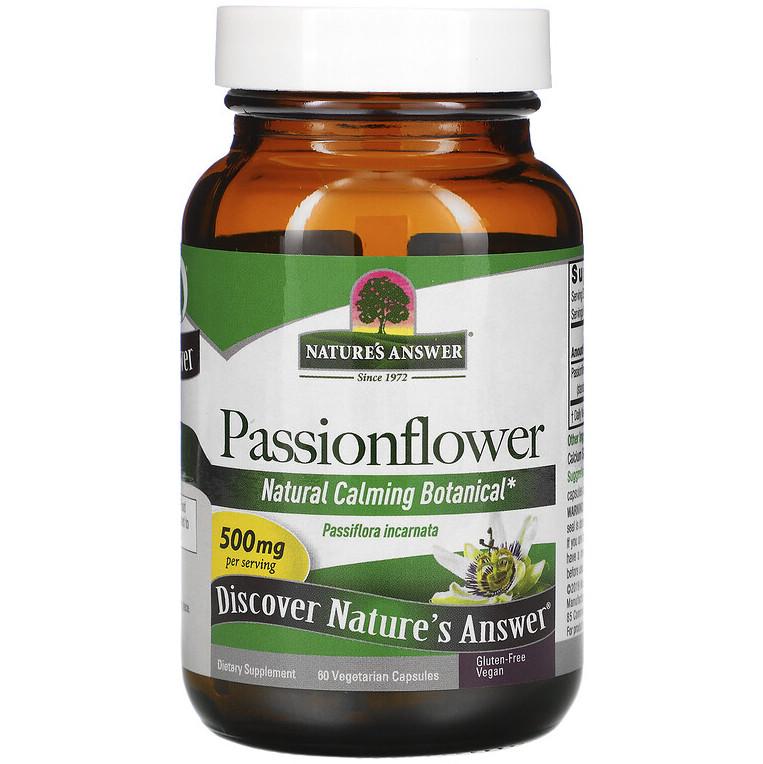 """Страстоцвет Nature's Answer """"Passionflower"""" для успокоения нервной системы, 500 мг (60 капсул)"""