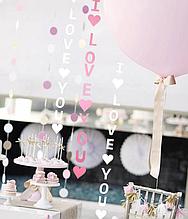 """Бумажная гирлянда на День Святого Валентина """"I love you"""" (нежно розовая)"""