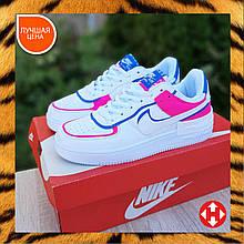 🔥 Кроссовки женские повседневные Nike Air Force 1 Shadow Белые с малиной и синим (найк аир форс)