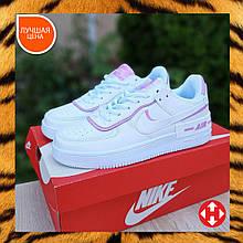 🔥 Кроссовки женские повседневные Nike Air Force 1 Shadow белые с серым с пудрой (найк аир форс 1)