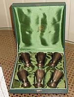 Набор серебряных позолоченных рюмок в подарочной упаковке СССР, фото 1