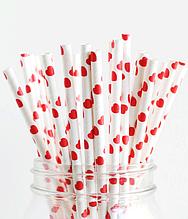 """Бумажные трубочки """"White red hearts"""" (10 шт.)"""