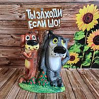 """Садовая фигура """"Волк с собакой №2"""" 46 см"""