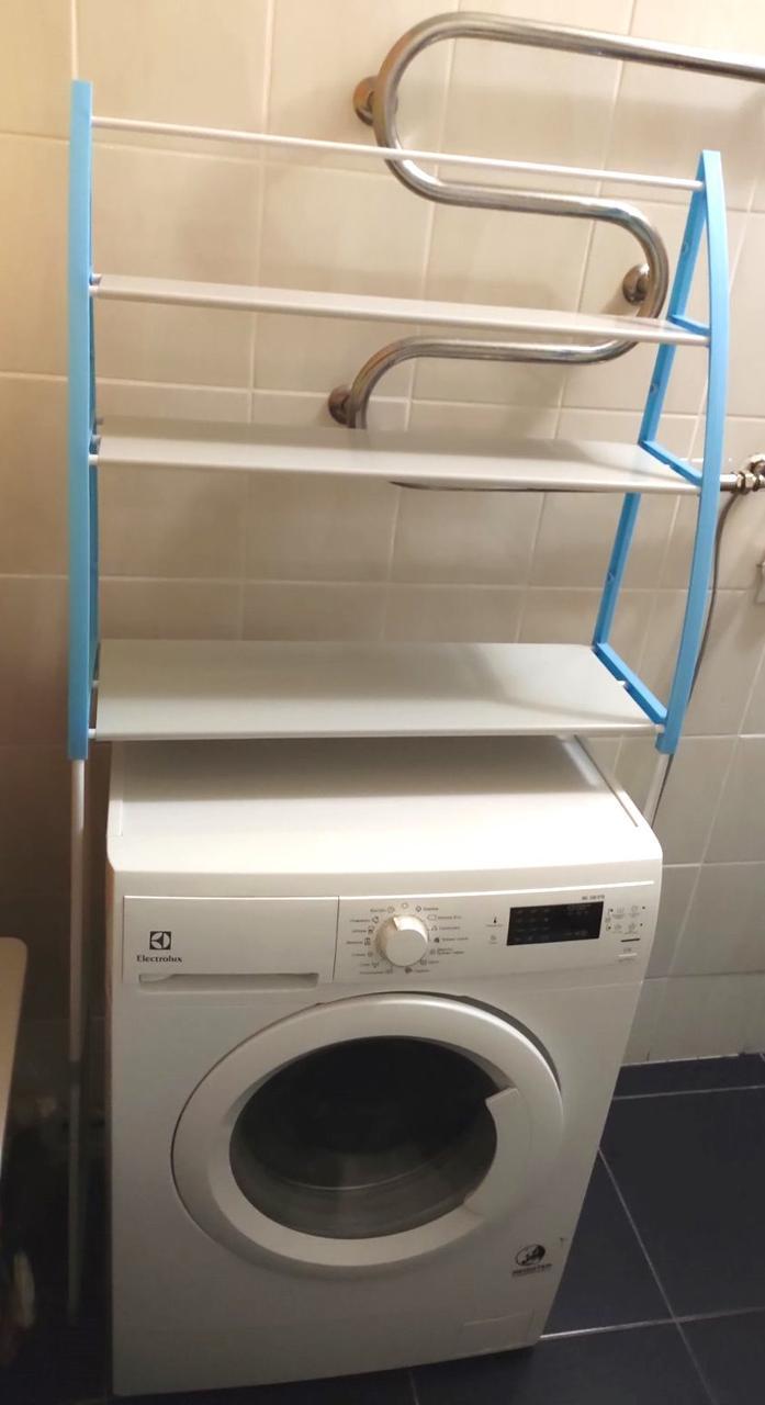 Полка-стеллаж напольный над стиральной машиной Голубой с Белым