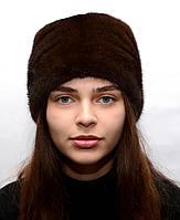 Женская зимняя норковая шапка кубанка со стразами, фото 1