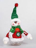 Банка для конфет с мягкой игрушкой Снеговик, 18см
