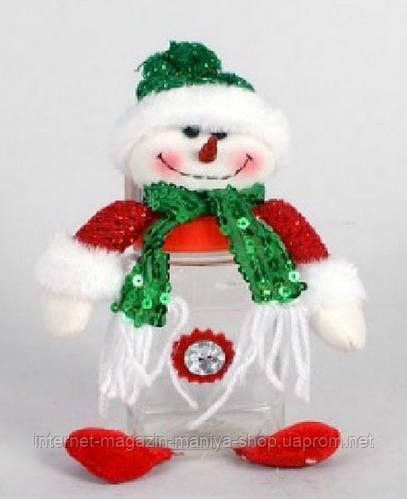 Банка для конфет с мягкой игрушкой Снеговик, 15см