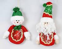 Мешочек для конфет Снеговик, Санта, 25см