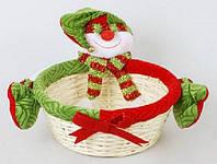 Корзинка декоративная Снеговик, 27см
