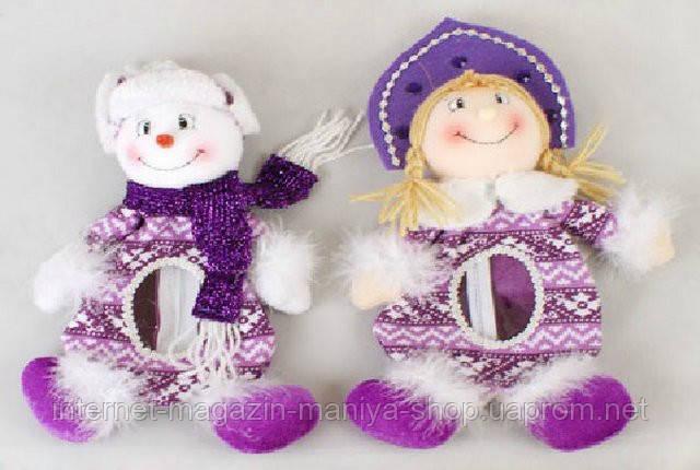 Мешочек для конфет Снеговик и Снегурочка, 28см