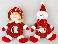 Мешочек для конфет Снеговик, Снегурочка, 28см