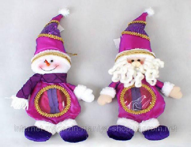 Мешочек для конфет, Снеговик, Санта 33см