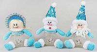 Банка для конфет с мягкой игрушкой Санта, Снеговик, Снегурочка, 16см