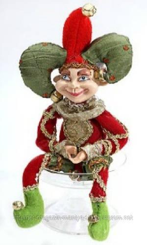 Новогодняя мягкая игрушка Клоун, 30см