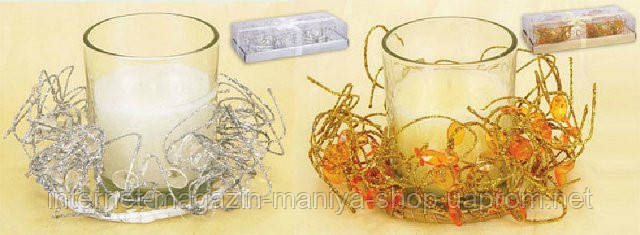 Набор свечей в стеклянном подсвечнике (2) с новогодним декором