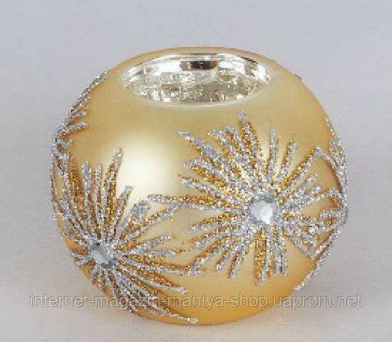 Подсвечник из стекла украшенный кристаллами, 8см