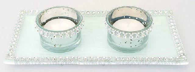 Набор: 2 подсвечника + 2 свечи + подставка, 20см