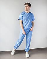 Медицинский мужской костюм Техас голубой, фото 1