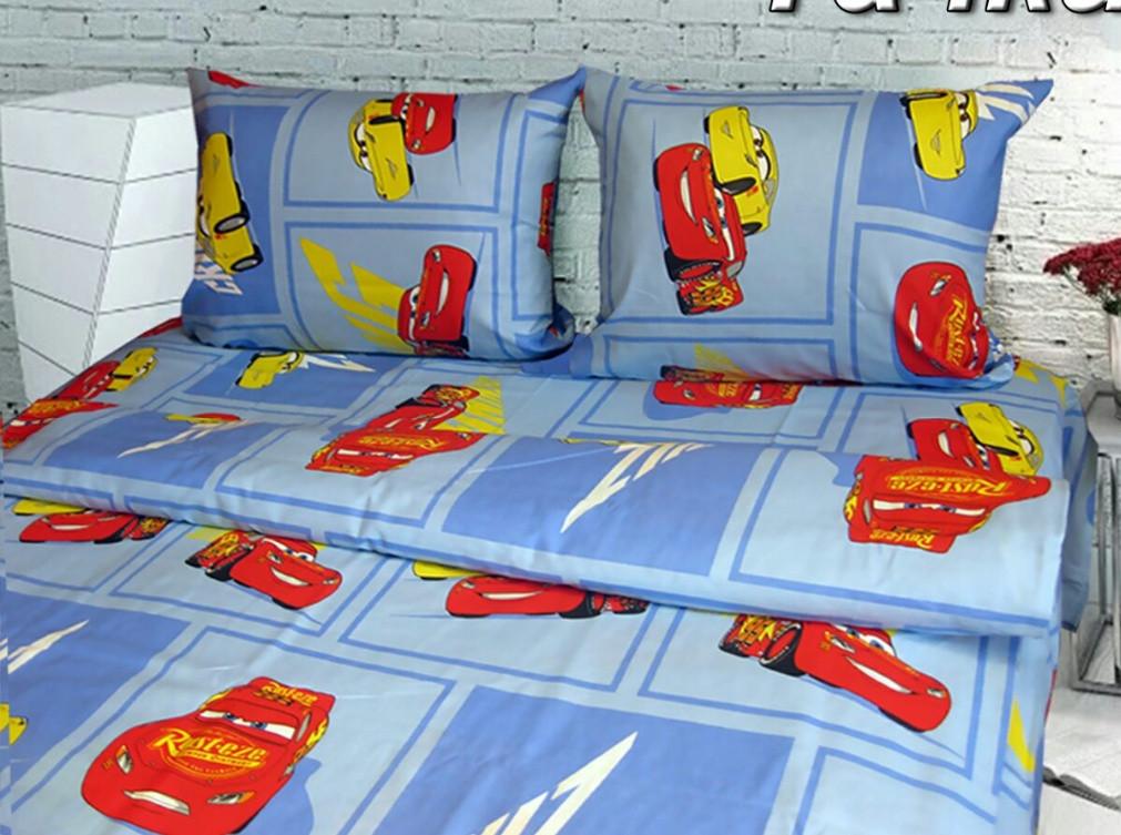 Полуторный комплект детского постельного белья Тачки, Тиротекс, Бязь Люкс, голубой