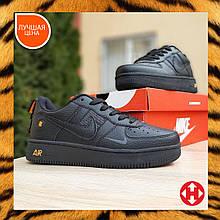 🔥 Мужские кроссовки повседневные Nike Air Force 1 LV8 черные с оранжевым пресскожа (найк аирфорс)