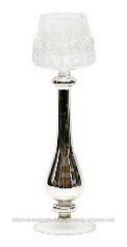 Подсвечник (стекло) в серебре с кружевом, 29см