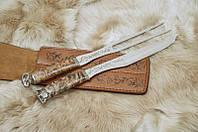 """Оригиналный набор аксессуаров для гриля """"В подарок папе"""", с вилкой и ножом в кожаном чехле"""